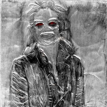 Great Aunt Gertrude by Maureen Duncan (6 x 6 India Ink on Embossed Aluminum)