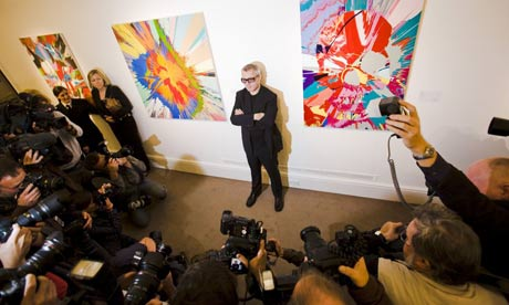 Damien Hirst at Sotheby's.  Photo by Felix Clay.