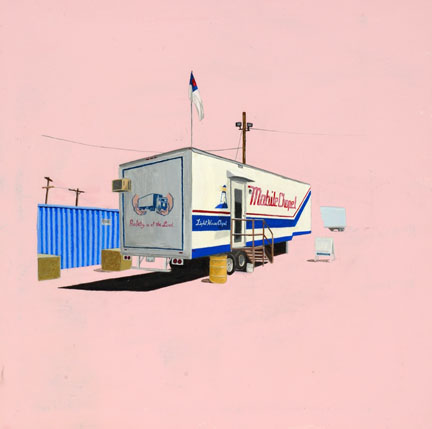 Mobile Chapel, 16 x 16 Acrylic on Canvas by Jim Zellinger (2003)