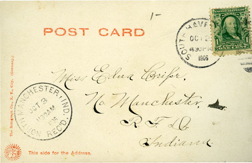 Reverse side of South Haven, Michigan Lighthouse postcard.