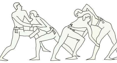 Depiction of Wrestling from Greece (500 B.C)
