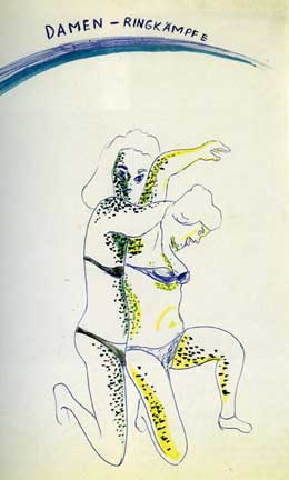"Damen-Ringkampf by Sigmar Polke (1968).  Ballpoint Pen, Watercolor and Silver (11 5/8 x 8 1/4"")"