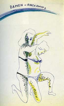 "Damen-Ringkampf by Sigmar Polke (1968).  Ballpoint Pen, Watercolor and Silver (11 5/8 x 8 1/4"")"