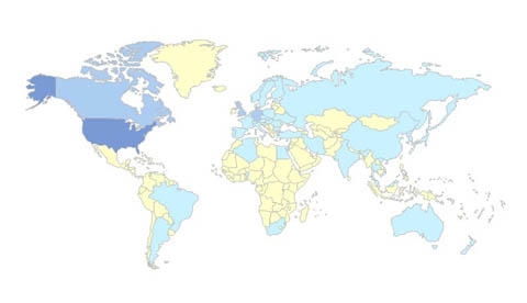 International Visitors on www.bryanhiott.com (March 2009).