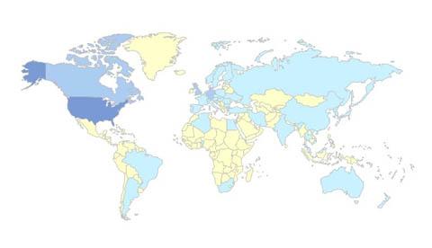 International Visitors on www.bryanhiott.com (March 2009).