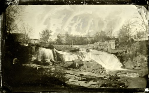 Tintype of Reedy River Falls in downtown Greenville, SC.
