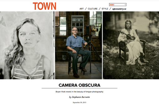 Feature Article on Bryan Hiott's Wet Plate Collodion Photography in the October 2015 edition of TOWN Magazine.